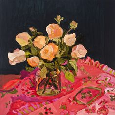 Laura Jones – Roses and pink and red tablecloth 2014, oil on linen, 61 x 61 cm