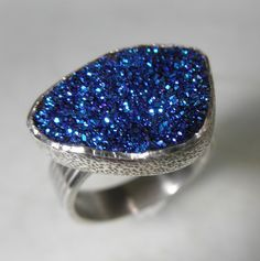 Deep Blue Titanium Druzy Silver Ring by by GillieAmsterdam on Etsy, $84.00