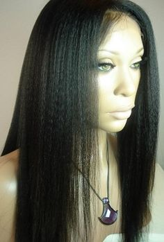 KINKY STRAIGHT FULL LACE WIG 14-16 INCHES!! PART ANYWHERE!!