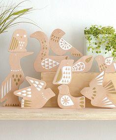 Wood Bird Puzzle Display Set