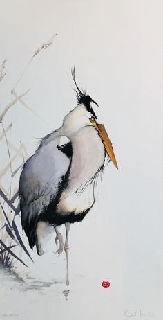 Watercolor Pictures, Watercolor Bird, Watercolor Animals, Watercolor Paintings, Watercolors, Japanese Painting, Japanese Art, Art Aquarelle, Bird Illustration