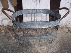 ANTIQUE PRIMITIVE WIRE EGG GATHERING BASKET COPPER HANDLES FARM HOUSE VINTAGE | eBay
