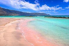 An island-hopping itinerary that covers three of the most famous Greek Isles: Crete, Santorini and Mykonos. Falassarna Beach, Pink Sand Beach, Bora Bora, Rosa Strand, The Tourist, Honey Moon, Beach Wall Murals, Wall Art, Best Greek Islands