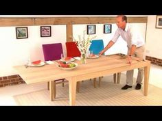 A collection of dual-use and shrinkable dining suites that allow a full sized dining table to be squeezed into a small setup. Round Extendable Dining Table, Expandable Dining Table, Round Dining, Diy Dining Room Table, Dining Furniture, Modern Furniture, Pallet Furniture, Dining Tables, Dining Suites
