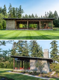 This modern garden pavilion draws inspiration from the Pacific Northwest, local materials, and the vernacular stone and timber structures built across the country in the by the Civilian Conservation Corps. Modern Architecture House, Modern House Design, Architecture Design, Residential Architecture, Small House Design, Classical Architecture, Landscape Architecture, Casas Containers, Timber Structure