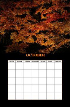 October Season Calendar, Monday Tuesday Wednesday, October, Seasons, Seasons Of The Year