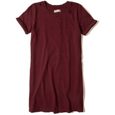 Designer Clothes, Shoes & Bags for Women Red Knit Dress, Tee Dress, Dress Red, Distressed T Shirt Dress, Distressed Tee, Ripped Dress, Spring Wear, Cute Outfits, Short Sleeve Dresses