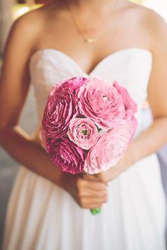 pink paper flower bouquet, photo by The Nickersons http://ruffledblog.com/north-arm-farm-wedding #weddingflowers #bouquet #paperflowers