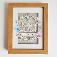 The Love Birds framed paper cut is a cute and quirky gift that will serve as a perfect memento for the Bride and Groom of their special day.  I…