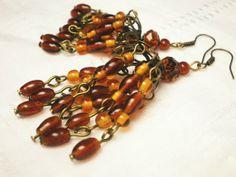 Brown Chandelier Earrings with Antique Bronze Metal by juta230, $22.25