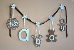 Blue and brown polka dot baby shower decorations by ParkersPrints, $15.50