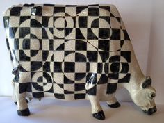 Cow Sculpture Cow Ceramic Flat Cow Statute by by AStrokeoftheBrush, $200.00