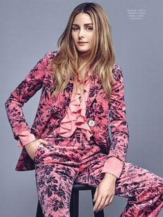 Olivia Palermo takes a seat in Gucci printed pantsuit and blouse for ELLE Denmark Magazine September 2016