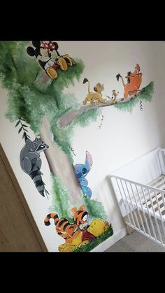 Wandbild / Wandmalerei Kinderzimmer, Kinderzimmer, Babyzimmer Mashup Disney Winnie th . - Best Pins - Wandbild / Wallpainting Kinderzimmer, Kinderzimmer, Babyzimmer Mashup Disney Winnie th … – - Disney Baby Rooms, Disney Babys, Disney Nursery, Mickey Mouse Nursery, Disney Playroom, Baby Mickey, Baby Room Boy, Baby Bedroom, Baby Room Decor