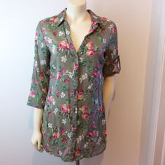 F.A.N.G. Women's Large 3/4 Adjustable Sleeve Floral Long Button Down Shirt Top #Fang #Blouse