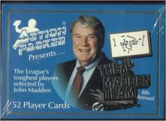 """1991 Action Packed """"All Madden Team"""" NFL Football Cards Complete Factory Set of 52 Top Stars (Includes Jerry Rice, Emmitt Smith, Barry Sanders, Thurman Thomas, Art Monk, Michael Irvin, Reggie White, Ronnie Lott, Jim McMahon, Mark Rypien & more) - Gorgeous embossed football cards!! by Action Packed. $10.01. Great looking set of football cards, loaded with top stars from the 90s!!"""
