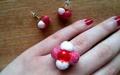Marshmallow Cookie ring and earringsHandmade by jewelryfoodclay