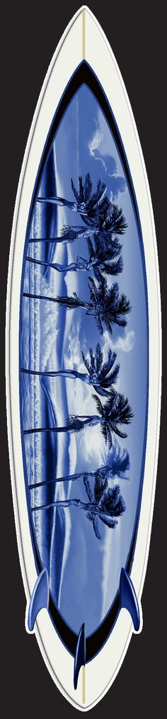 """Fantasy Palms by Rick Rietveld. Giclee Limited Edition Foam Surfboard, Imaged on Rice Paper Embedded into the Resin. Includes Patented Hanging System. 90"""" x 19"""" for $2,795.00. Free Shipping! #surfart"""