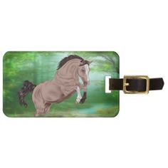 Jumping Buckskin Horse Bag Tag - horse animal horses riding freedom
