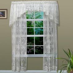 Commonwealth Home Fashions Rod Pocket Bridal Lace Curtain Panel - Color: White, Size: 56 Lace Valances, Lace Curtain Panels, Lace Curtains, Window Panels, Window Curtains, Lace Window, Romantic Shabby Chic, Country Curtains, Rustic Curtains