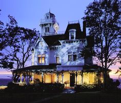 Exterior shot of the house at twilight from the movie Practical Magic.