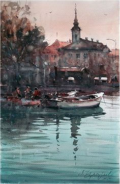 Dusan Djukaric  Morning in Danube, Zemun, watercolor, 36x56 cm