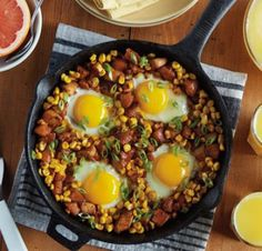 Sweet Potato Turkey Hash - Enjoy a relaxing brunch after the holidays with a simple one skillet meal, and boost your leftover turkey with corn, sweet potatoes and eggs. Breakfast Dishes, Breakfast Time, Breakfast Recipes, Free Breakfast, Dinner Dishes, Brunch Recipes, Dinner Recipes, Food Network Recipes, Cooking Recipes