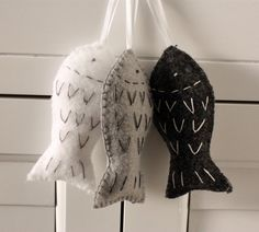 Three Monochromatic Felt Fish Christmas Ornaments Gift Toppers - White Gray Charcoal Gray on Etsy, $9.00