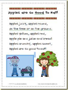 Apples are so good to eat poem  lilcountrykindergarten.blogspot.com
