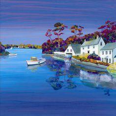 Helford - Gilly Johns - Contemporary Landscape, Landscape Art, Landscape Paintings, Landscapes, Sailboat Art, Funky Art, Coastal Art, Naive Art, Art For Art Sake