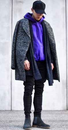 today im wearing a purple hoodie by @urbanoutfitters, grey cardigan by @zara, jacket/coat by @jackandjones, basic denim by @bershkacollection and shoes by @bottegaveneta. good day everyone :) --- Follow Me On Instagram As Well https://www.instagram.com/achmedlachned/ ---- #outfit #purple #ootd #menswear #elegant #inspiration #lookoftheday #urbanoutfitters #zara #jackandjones #bershka #bottegaveneta #chelsea #boots #winter #layer #fashion #streetstyle #men #london #austria #vienna