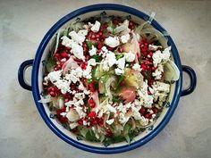 Gránátalmás édeskömény saláta kecskesajttal Pasta Salad, Cobb Salad, Ethnic Recipes, Blog, Fitness, Crab Pasta Salad, Gymnastics, Cold Noodle Salads, Blogging