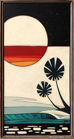 """Sunset Moonrise"" © Erik Abel 2015  13.5x25.5  Acrylic, marker, colored pencil on wood. Frame: Reclaimed Wood"