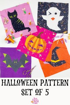 Learn how to make this amazing Halloween Quilt Block Pattern Set of 5 these are a witch hat, pumpkin, black cat, ghost and a bat. Check out this post now! Beginner Quilt Patterns, Baby Quilt Patterns, Paper Piecing Patterns, Quilting For Beginners, Sewing Patterns, Halloween Quilt Patterns, Christmas Quilt Patterns, Halloween Quilts, Quilting Projects