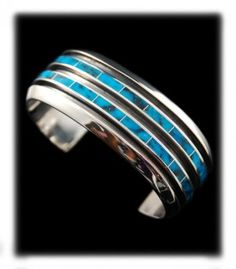 Modern Inlay Turquoise Bracelet by the famous Native American artist Phil Loretto