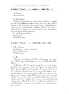 Perfectly Reasonable Deviations From the Beaten Track: The Letters of ... - Richard P. Feynman - Google Books