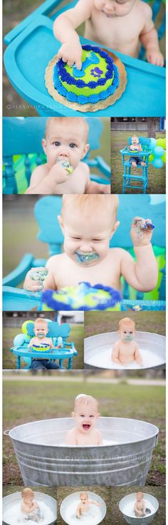A one year old birthday - I love that they included pictures of the bath after the cake smash!