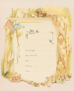 Victorian Baby Book Birth Information Page