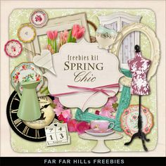 Far Far Hill - Free database of digital illustrations and papers: New Freebies Kit - Spring Chic