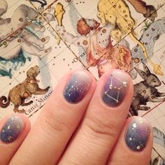 Constellation Nails decorated with pearl