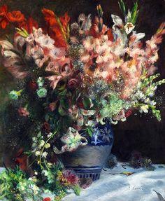 Gladíolos em um vaso c. 1874-5, Pierre-Auguste Renoir  National Gallery of Art - Londres  Renoir era um mestre da pintura da flor luxuriante. Como ele disse certa vez à um crítico 'Eu apenas deixo minha mente descansar quando eu pinto flores'.  Mais tarde, ele aplicou as lições que aprendeu para a pintura figurativa.