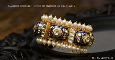 A bangle always is the finishing touch that can revamp a simple outfit into something spectacular. This bangle designed and crafted by K.K.Jewels has the perfect combination of pearls, polkis and meenakari. This marvellous piece of jewellery reflects the richness of our heritage with all its magnificence and glory. Try it on! #KKJewels #Jewellery #Ahmedabad