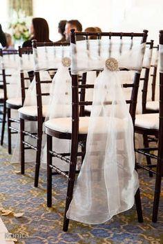 Sheer chair sash with crystal pin. Sheer chair sash with crystal pin. Wedding Chair Decorations, Wedding Chairs, Wedding Reception, Our Wedding, Dream Wedding, Elegant Wedding, Wedding Ideas, Wedding Chair Sashes, Wedding Simple