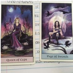 Real life tarot images of crystalintuitiontarot instagram Queen of Cups. Loving, emotional, and caring. A dreamer. Page of Swords. Be a problem solver and a situation diffuser. Don't let bad things stop you from loving your inner self. Fix it instead.