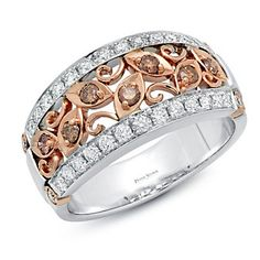 Peter Storm 18K Rose & White Gold Brown & White Diamond Band  2ACDD1521