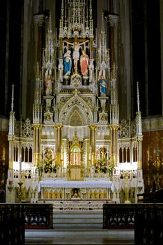 This is a Catholic alter - built solely for the consecration of the Eucharist. The alter itself and the space surrounding it is a holy place, as it is where Christ dwells.