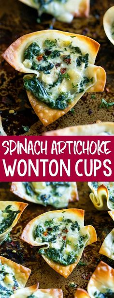 Take creamy spinach dip to the next level with these bite-sized Baked Spinach Artichoke Won-ton Cups. This crispy, cheesy appetizer is sure to vanish at your next party or potluck and the individual cups make perfect hand-held bite-sized snacks! Best Appetizer Recipes, Yummy Appetizers, Appetizers For Party, Bite Size Appetizers, Cheese Appetizers, Easy Vegetarian Appetizers, Spinach Appetizers, Individual Appetizers, Wonton Appetizers
