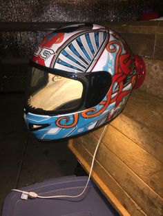 My latest helmet lamp made from a crashed KBC motorcycle helmet. The base has been painted red to match. Motocross Bedroom, Helmet Light, Light My Fire, Lamp Ideas, Motorcycle Helmets, Deco, Project Ideas, Man Cave, Garage