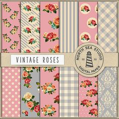 Roses Digital Paper -  http://etsy.me/2aEUA88 12 background collage sheets with floral patterns in vintage colors.