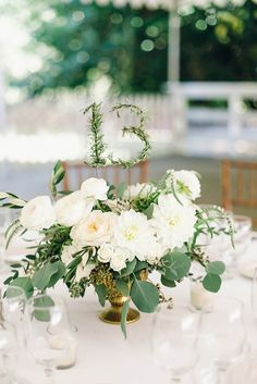 Whites and Greens.  Centerpiece by Primary Petals.  Custom Table Numbers #primarypetals